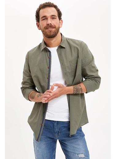 DeFacto Slim Fit Uzun Kollu Basic Gömlek Haki